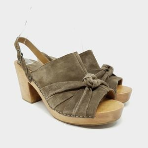 Anthropologie Lucky Penny Brown Suede Sandals